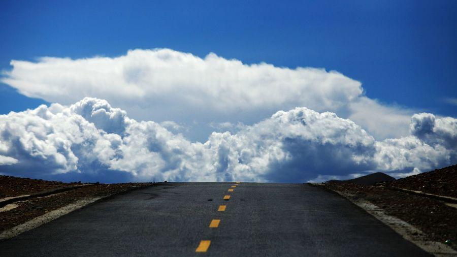 cloud Blue Cloud - Sky Day Landscape Nature No People Outdoors Road Scenics Sky The Way Forward Winding Road