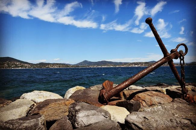 Sea Beach Water Beauty In Nature Nature Day Outdoors Mountain Sky Anchor Sainttropez France Southoffrance Weekend Week On Eyem Tourism