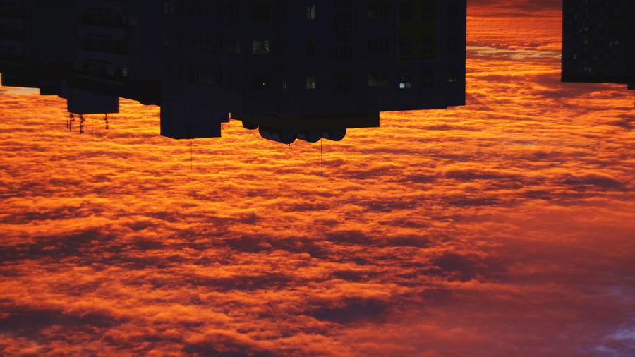 Aerial View Architecture Beauty In Nature Building Building Exterior Built Structure City Cloud - Sky High Angle View Nature No People Orange Color Outdoors Reflection Scenics - Nature Shadow Sky Sunset Tranquility Water