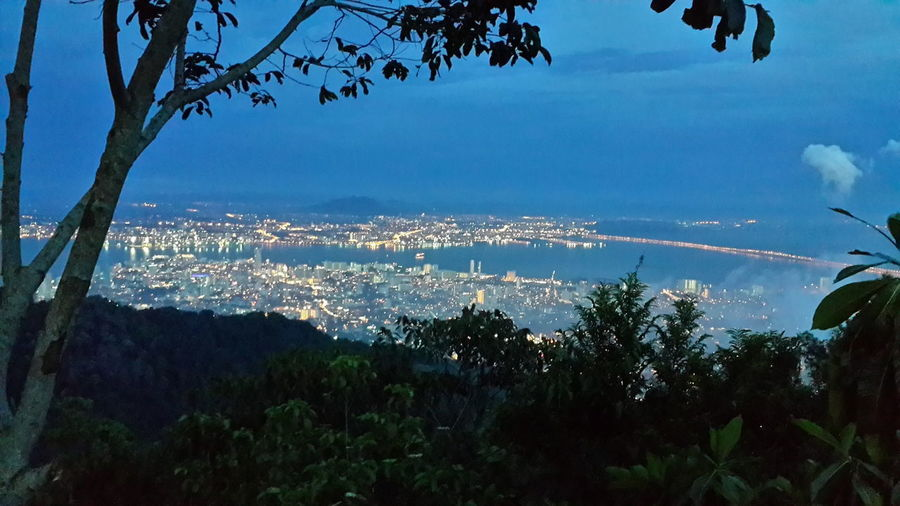 Sea Beauty In Nature Sky Mountain City Landscape Travel Destinations Night View Of Penang Island Night Lights Nightview Penang Hill