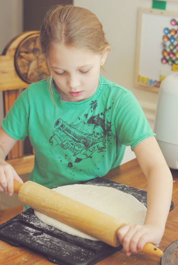 Making Pizza Casual Clothing Close-up Cooking Cooking With Kids Cute Dough Focus On Foreground Home Leisure Activity Lifestyles Pizza Pizza Dough Portrait