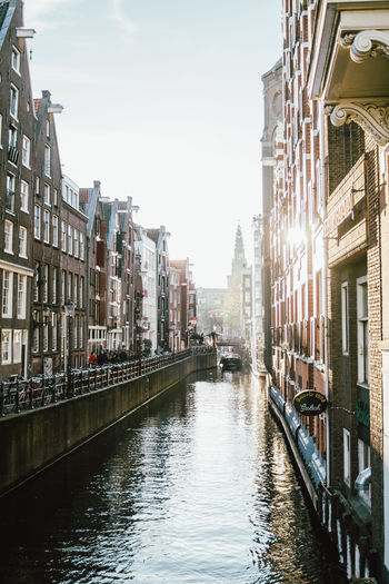 Architecture Water Canal Waterfront City Building Amsterdam Netherlands Sunlight
