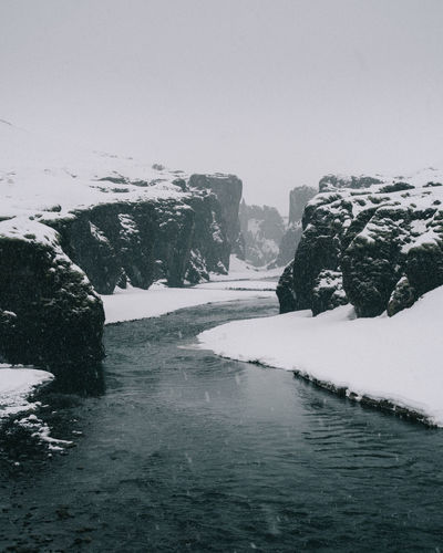 Fjaðrárgljúfur Iceland Water Travel Destinations Travel Cold Temperature Beauty In Nature Winter Snow Nature Sky Scenics - Nature Tranquility Day Frozen Tranquil Scene Rock No People Waterfront Rock - Object Rock Formation Environment Outdoors Ice Extreme Weather Canyon Fjaðrárgljúfur