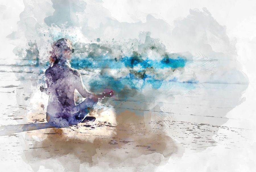 Young woman meditating on the beach, digital watercolor painting Digital Drawing Digital Paint Meditating Meditation Watercolour Woman Yoga Beach Coast Digital Art Digital Illustration Digital Painting Digitally Altered Digitally Generated Digitally Generated Image Illustration Meditate Nirvana Ocean Peaceful Relaxation Sea Watercolor Watercolor Painting Watercolour Painting