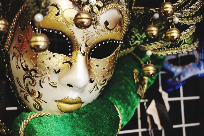 Carnival Crowds And Details Mask - Disguise Cultures Venetian Mask Store Gold Colored No People Vincenzo Improta