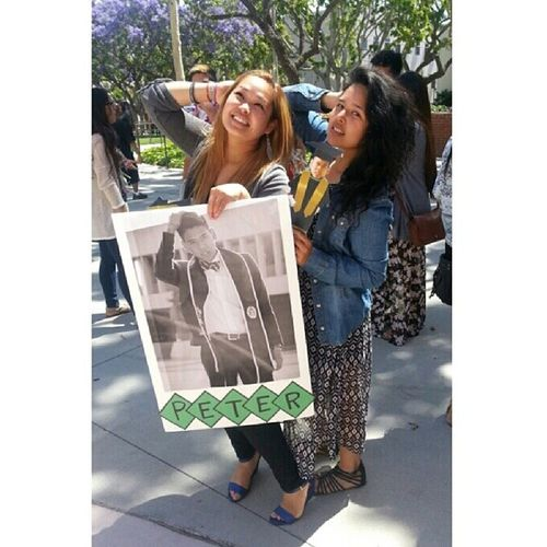 Late post. At my little's graduation with his poster and his little mini me graduation stick. My little is a model!! @peteah @donut4you