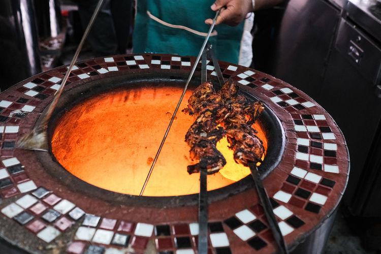 Tandoori chicken barbeque  in a restaurant