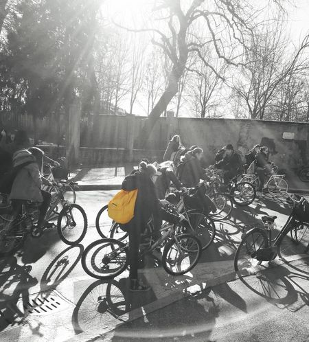 Kids on bikes Check This Out Colorsplash Bike Blackandwhite Kids Streetphotography Street Photography Street Art The Places I've Been Today Urban