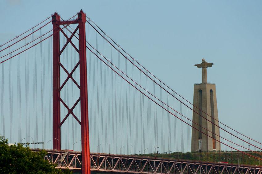 Christ the King & 25 de Abril Bridge - Lisbon - Portugal 25 De Abril Bridge Portugal Red Christ The King Lisbon