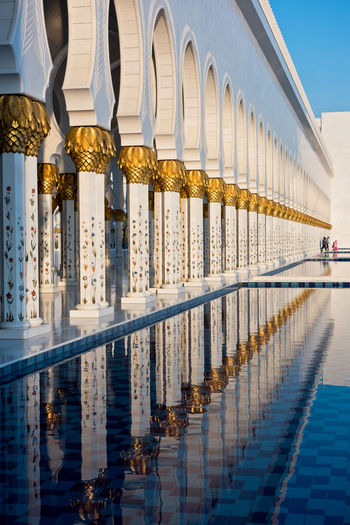 Sheikh Zayed White Mosque in Abu Dhabi Abu Dhabi Architecture Building Exterior Built Structure City Columns Emirates Famous Place Marble Mosque Muslim No People Outdoors Place Of Worship Reflection Religion Sheikh Zayed Grand Mosque Temple Travel Travel Destinations UAE Water White Worship