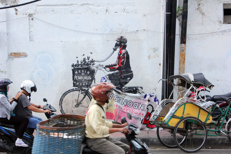 City Transportation Street People Mural Art Streetphotography Outdoors Yogjakarta INDONESIA