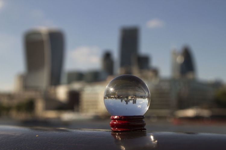 Central London Cityscape Cityscapes Close-up Enjoying Life Focus On Foreground Gerkin  Gerkin In Bank London Glass Sphere London No People Playing With Light Selective Focus Travel Travel Destinations Travel Photography Traveling Upsidedown