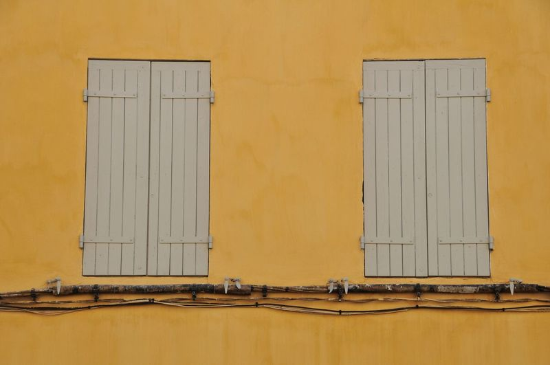 Close-up Day Full Frame House No People Symmetrical Windowshade Yellow Color