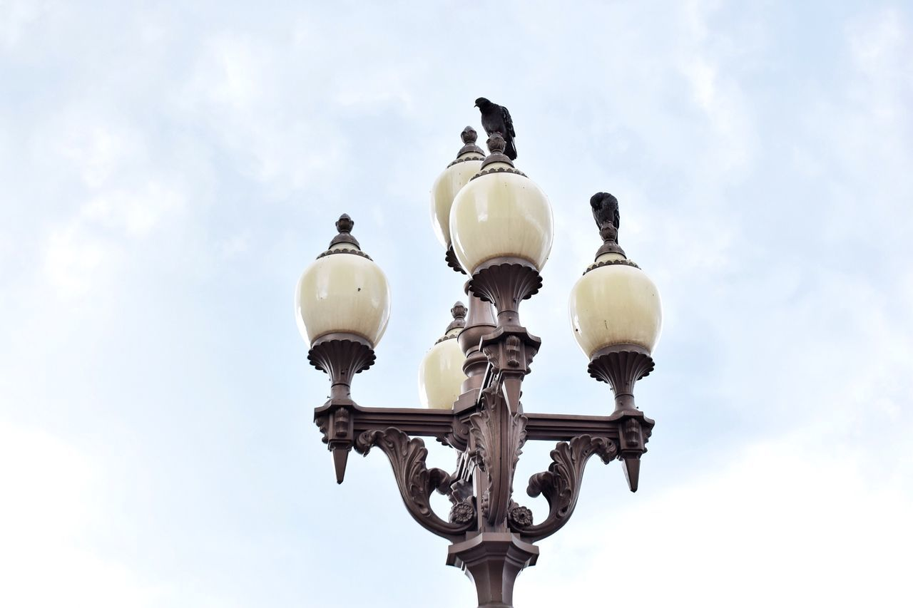 street light, lighting equipment, low angle view, sky, cloud - sky, street, no people, day, nature, metal, outdoors, electric lamp, electricity, retro styled, bird, architecture, antique, design, animal, ornate, wrought iron