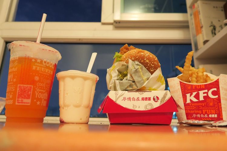Group Photo of KFC Dinner Food Food And Drink Hungry Bay Window Window View Temptation Ready-to-eat Still Life