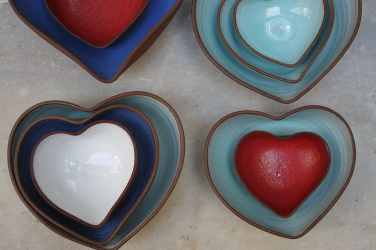 Composition Red Set Blue Ceramics Ceremic Set Close-up Food Heart Shape High Angle View Modern Ceremics No People Summer