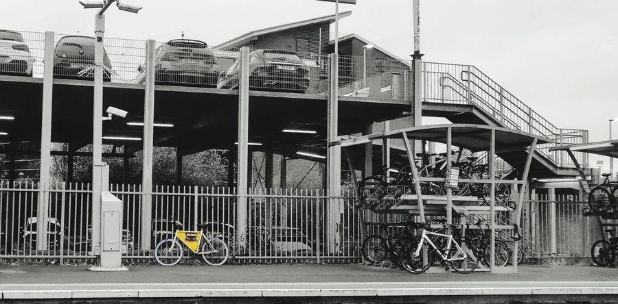 bikes Photowalktheworld Black And White Colour Pop Bike Bicycle EyeEm Selects Inspirational Industrial Railway Station Sky Locked Padlock Bicycle Rack Security