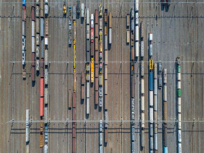 Directly above shot of trains at shunting yard