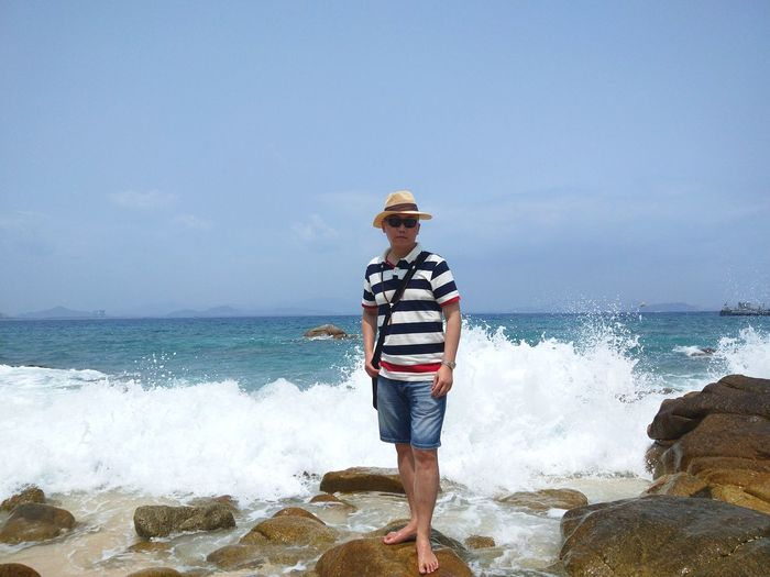Wave Water Sea Full Length Beach Standing Men Motion Summer Headwear