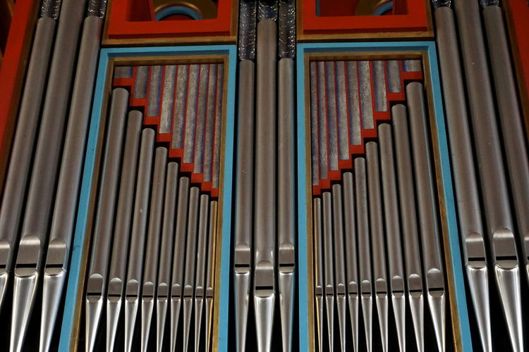 Church Church Organ Church Organ Pipes Architecture Backgrounds Close-up Indoors  Low Angle View Metal No People Organ Pattern Pipes