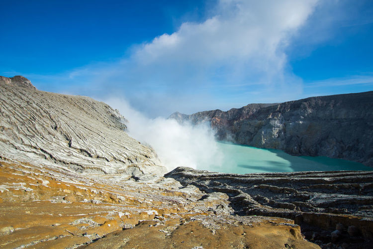 INDONESIA Travel Beauty In Nature Cloud - Sky Day Emitting Environment Formation Geology Heat - Temperature Hot Spring Kawah Ijen Landscape Mountain Nature No People Non-urban Scene Outdoors Physical Geography Power In Nature Scenics - Nature Sky Smoke - Physical Structure Steam Tranquil Scene Volcanic Crater Volcano Water