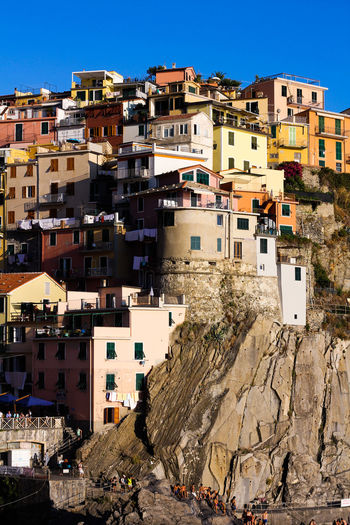 cinque terre Shore Cliff Sea Cinque Terre Italy Italia City Cityscape Clear Sky Residential Building Community Hill Sunlight Urban Skyline House Sky Housing Settlement Old Town