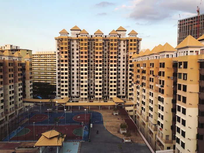 The HDB Playground Building Exterior Built Structure Architecture Sky City Building Residential District Cloud - Sky Outdoors Tall - High Day