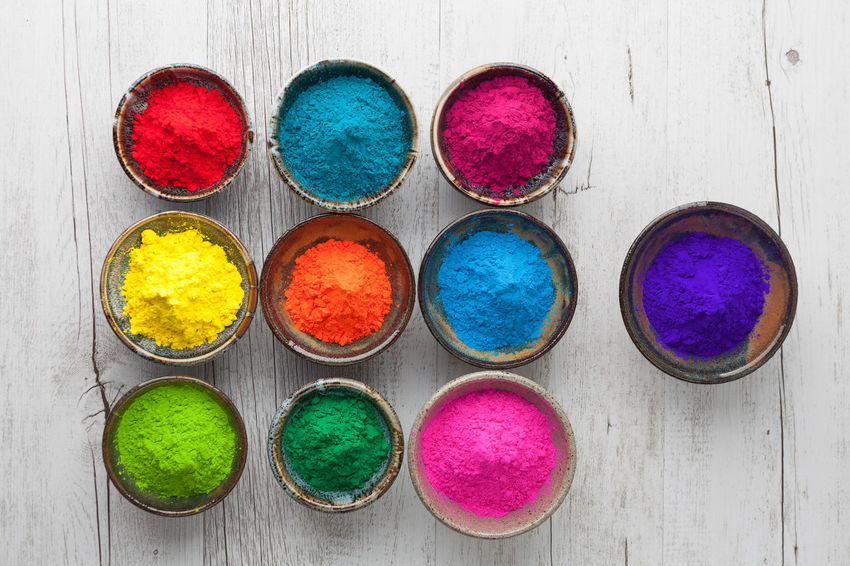 Many colors of Holi powder in cups top view Holi Festival Holi Festival Of Colours Choice Colorful Cultures Day Dye Easter High Angle View Holi Holi Powder Indoors  Multi Colored No People Powder Paint Purple Talcum Powder Top View Variation Vibrant Color
