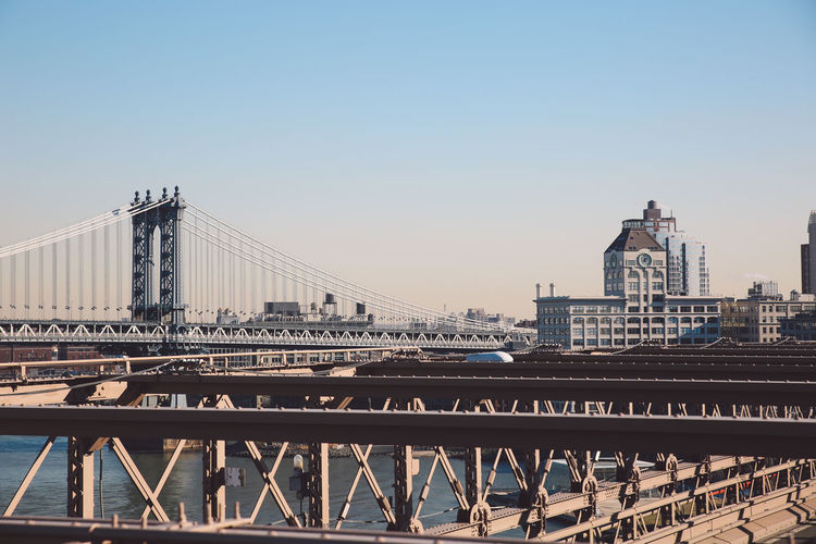 Architecture Architecture Bridge - Man Made Structure Brooklyn Bridge  Brooklyn Bridge / New York Building Exterior Built Structure City Clear Sky Cold Connection Manhattan New York New York City NYC River Sky Sunny Suspension Bridge Tourism Transportation Travel Travel Destinations Water Winter