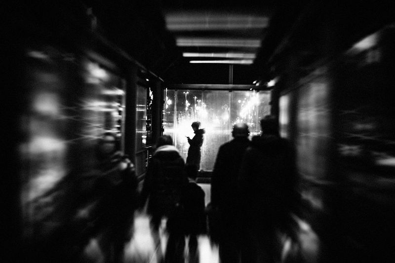 The Journey Is The Destination The Week on EyeEm Adult Black And White Canonphotography Illuminated Indoors  Leisure Activity Lifestyles Light And Shadow Men Monochrome Night People Real People Silhouette Streetphotography Walking Women