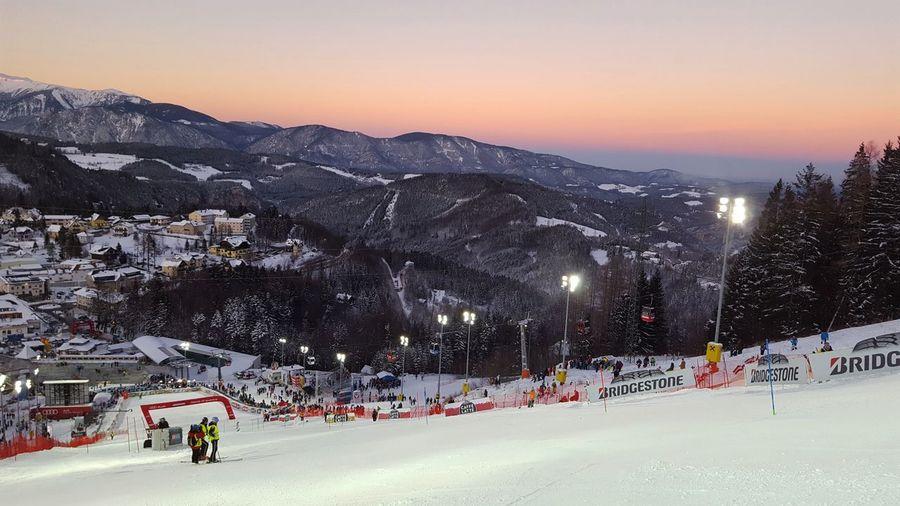 💖💖💖nighT raCe💖💖💖Semmering Worldcup Austria Sunset_collection Sunset Landscape Cold Temperature Scenics Skiing ❄ Alpineskiing Workhardplayharder Styria Fisalpin