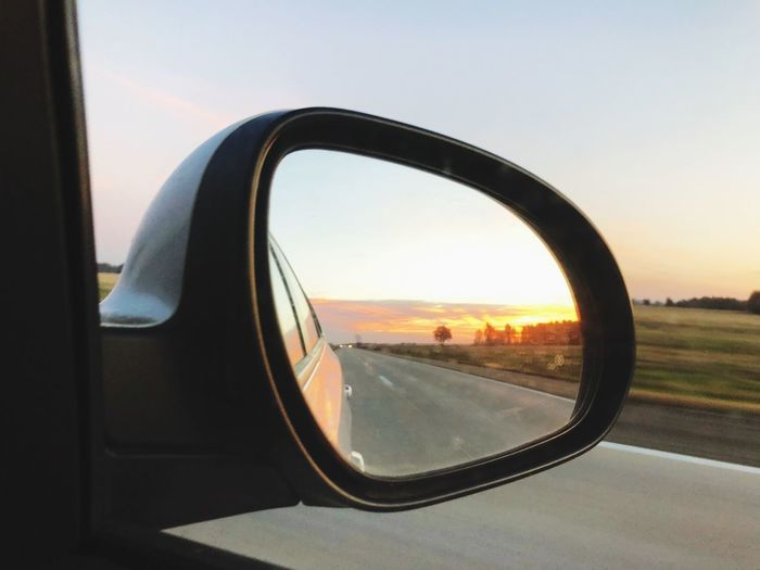 Side-view Mirror Window No People Transportation Sky Sunset Road