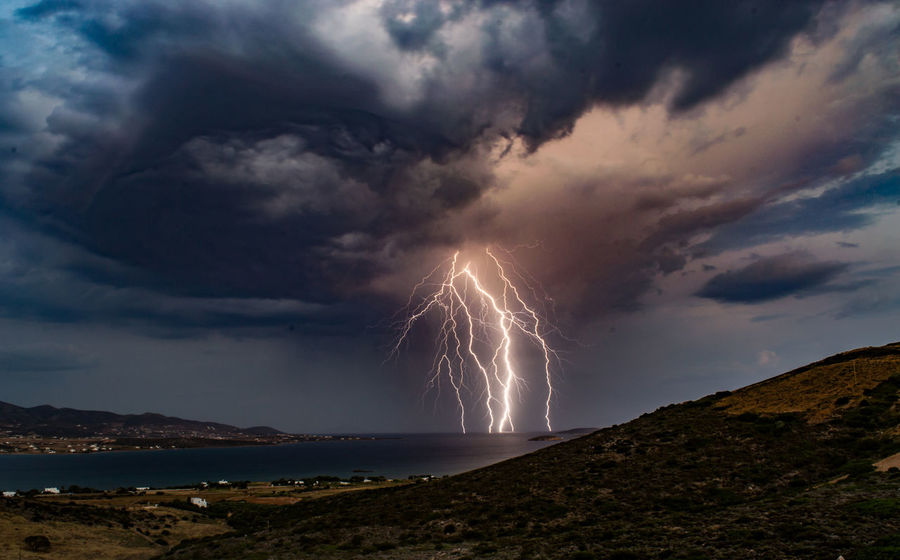 Beauty In Nature Cloud - Sky Dramatic Sky Forked Lightning Horizon Over Water Illuminated Lightning Nature Night No People Outdoors Power In Nature Scenics Sea Sky Storm Storm Cloud Thunderstorm Water Weather Perspectives On Nature