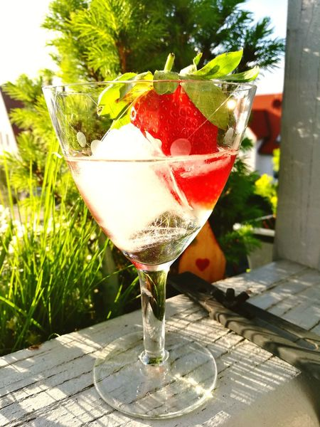Want a Drink? Cocktail Food And Drink Drinking Glass Refreshment Drink Alcohol Close-up Outdoors No People Freshness Day Smartphonephotography Strawberry Summer Summertime