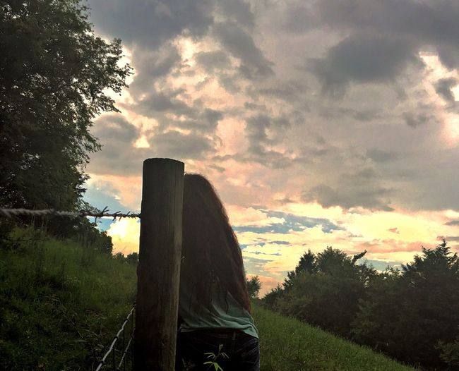 Home Is Where The Art Is Sunset Country Life Clouds And Sky Beauty In Nature Girl Long Hair View