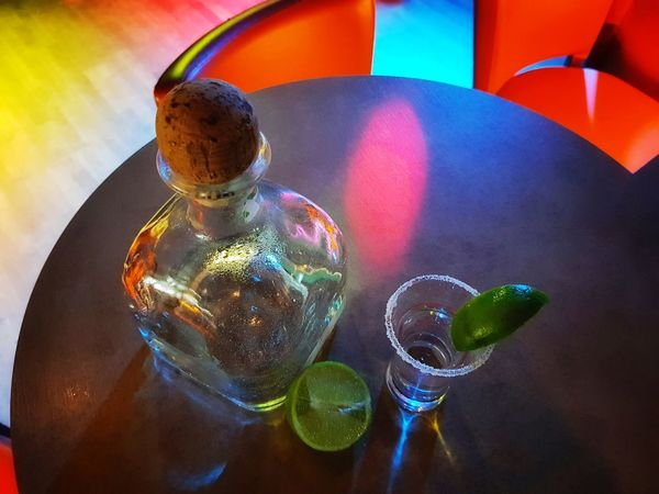 Tequila Shots Tequila Time Multi Colored Shiny Table Close-up Nightclub Entertainment Club Disco Lights