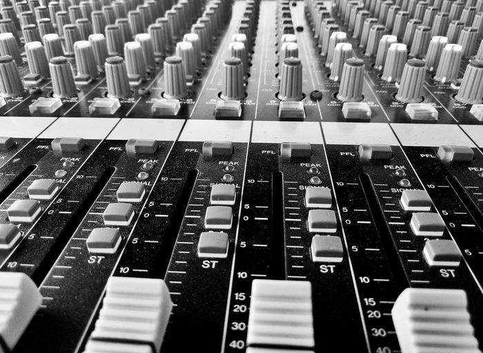 Music Sound Mixer Recording Studio Studio Sound Recording Equipment Broadcasting Mixing Audio Equipment Control Full Frame Backgrounds Control Panel Arts Culture And Entertainment Indoors  Close-up Technology No People Radio Station Producer Day