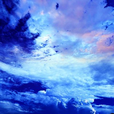Blue skies and clouds. Cloud - Sky Sky Dramatic Sky Blue Flying Bird Nature Multi Colored Outdoors Low Angle View Sunset No People Mountain Night Beauty In Nature Space