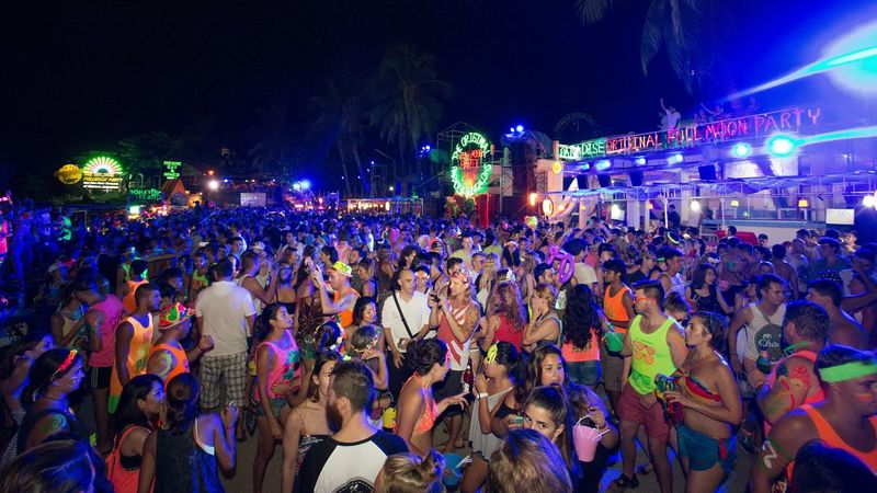 Full Moon Party In Koh Phangan Crowd Music Music Festival Celebration Nightlife Live Event Adults Only Night Arts Culture And Entertainment Full Moon Night  Fullmoonparty Full Moon Party Party Party Time Hang Dance Lights Thai Thailand