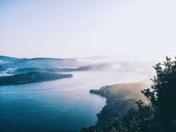 Beauty In Nature Blue Bulgaria Calm Cloud - Sky Clounds  Coastline Day Fog Lake Landscape Majestic Mountain Mountains Nature No People Outdoors Reflection Sky Tranquil Scene Tranquility Tree Tree Water Waterfront