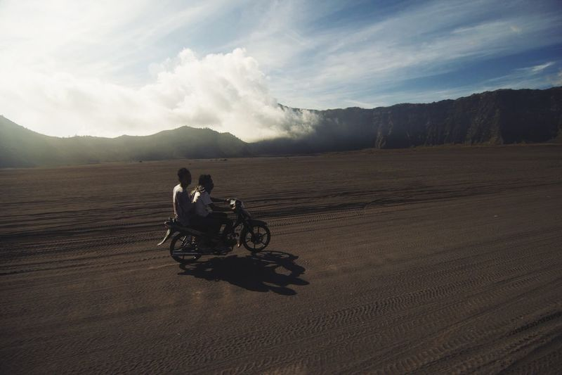 Adventurer. Adventure Motorcycles Landscape Mount Bromo, East Java - Indonesia Bromo