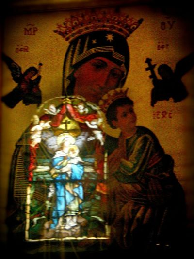 In honor of Saint John Vianney, here is mas-o-menos photo of a stained glass window of Our Lady with the Christ Child reflected in an icon of Our Lady of Perpetual Help. Hopefully I will make it back to the US Shrine of the Immaculate Conception in Washington, DC, to get a better photo soon! Our Lady Our Lady Of Perpetual Help Santo Nino Jesus Christ Religious Art Religious Icons Catholic Catholicism Spirituality Virgin Mary Reflection Religion And Beliefs Christianity Basilica Of The National Shrine Of The Immaculate Conception Saint John Vianney The Week On EyeEm
