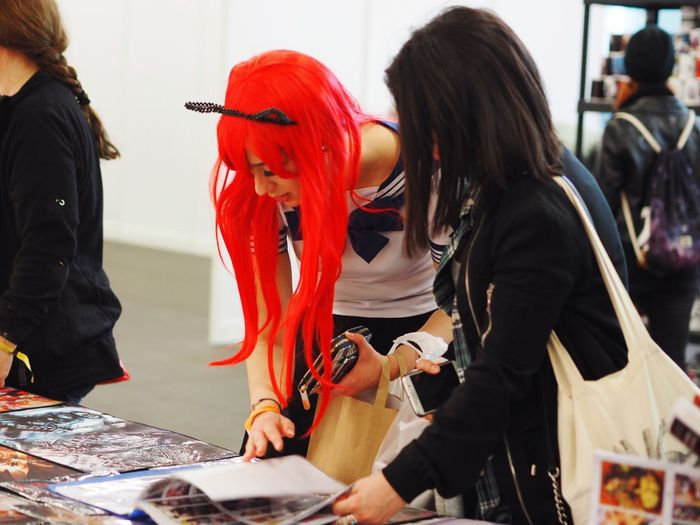 Red Hairstyle Wig Fair Comic Style Comicon Fantasy Basel People Streetphotography Women My Unique Style Fashion Hair Fashion From My Point Of View Live Love Shop in Basel, Switzerland