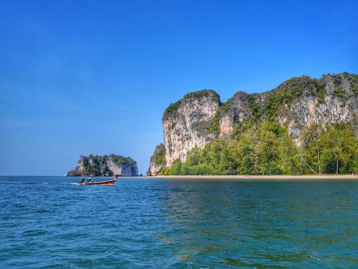 Beautiful tropical landscape at Andaman sea Trang province Thailand Water Nautical Vessel Sea Tree Blue Sky