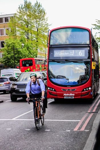 London, UK Transportation Bicycle Mode Of Transport Land Vehicle Cycling Car One Person City Life Outdoors Adult City People Adults Only Portrait Full Length Day One Woman Only Sky London Coulourful