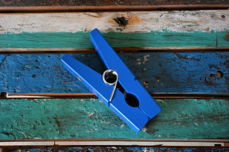 blue clip Blue No People Close-up Papperclip Wood - Material Still Life Neon Life
