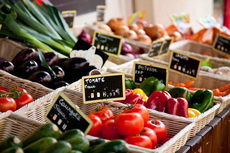 Various vegetables at market