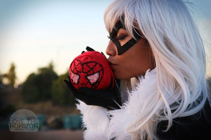 """Thank you Spider-... Peter, whatever you call yourself. For taking your mask off and reminding me... It's never too late to figure out who you really are."" - Black Cat LovetheHorizonProductions Cosplay Cosplayer Black Cat Spiderman Marvel Comic Character White Hair Costume Heroine Yarn"