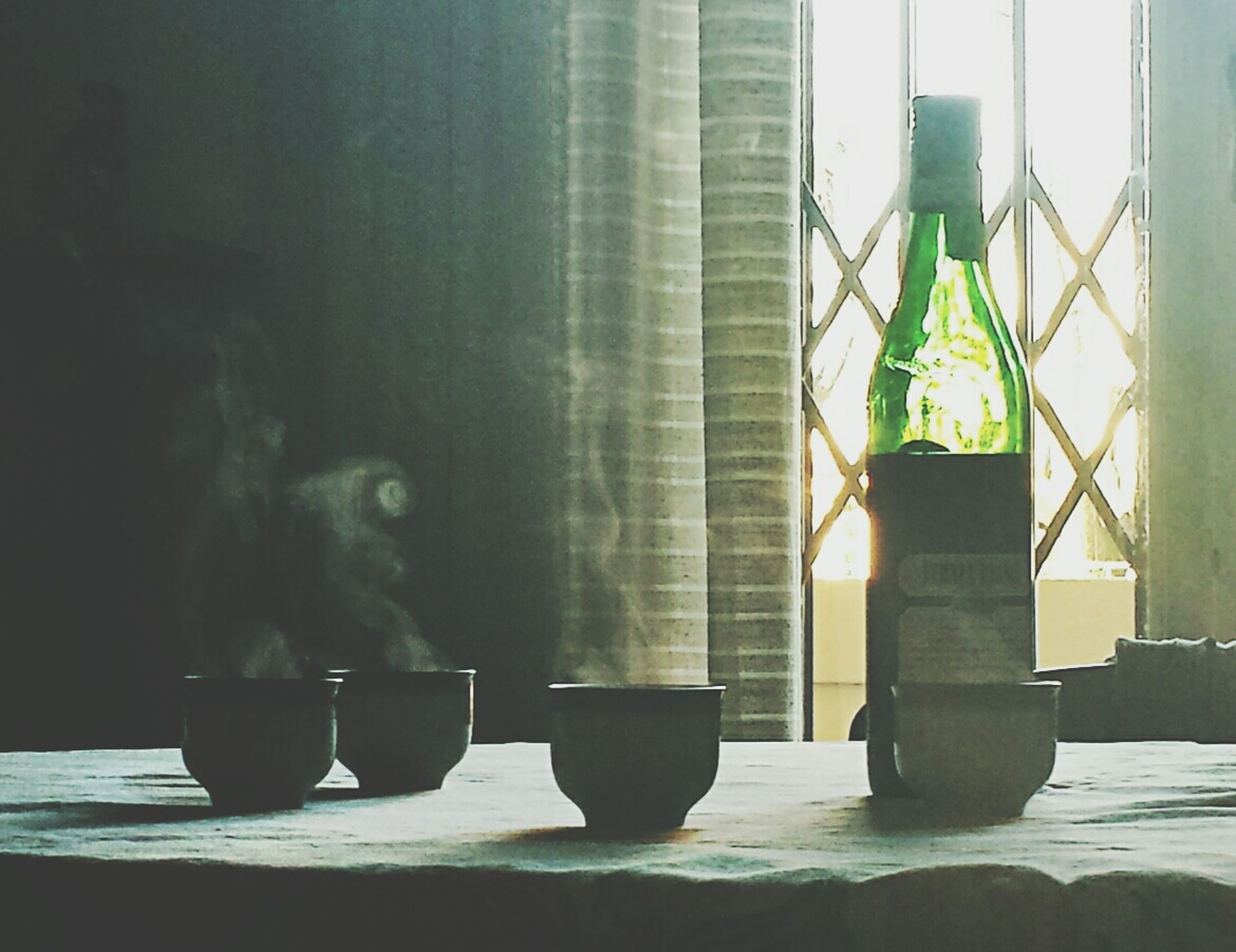 indoors, window, glass - material, transparent, home interior, built structure, wall - building feature, architecture, table, window sill, day, sunlight, water, curtain, bottle, no people, reflection, wall, animal themes, full length