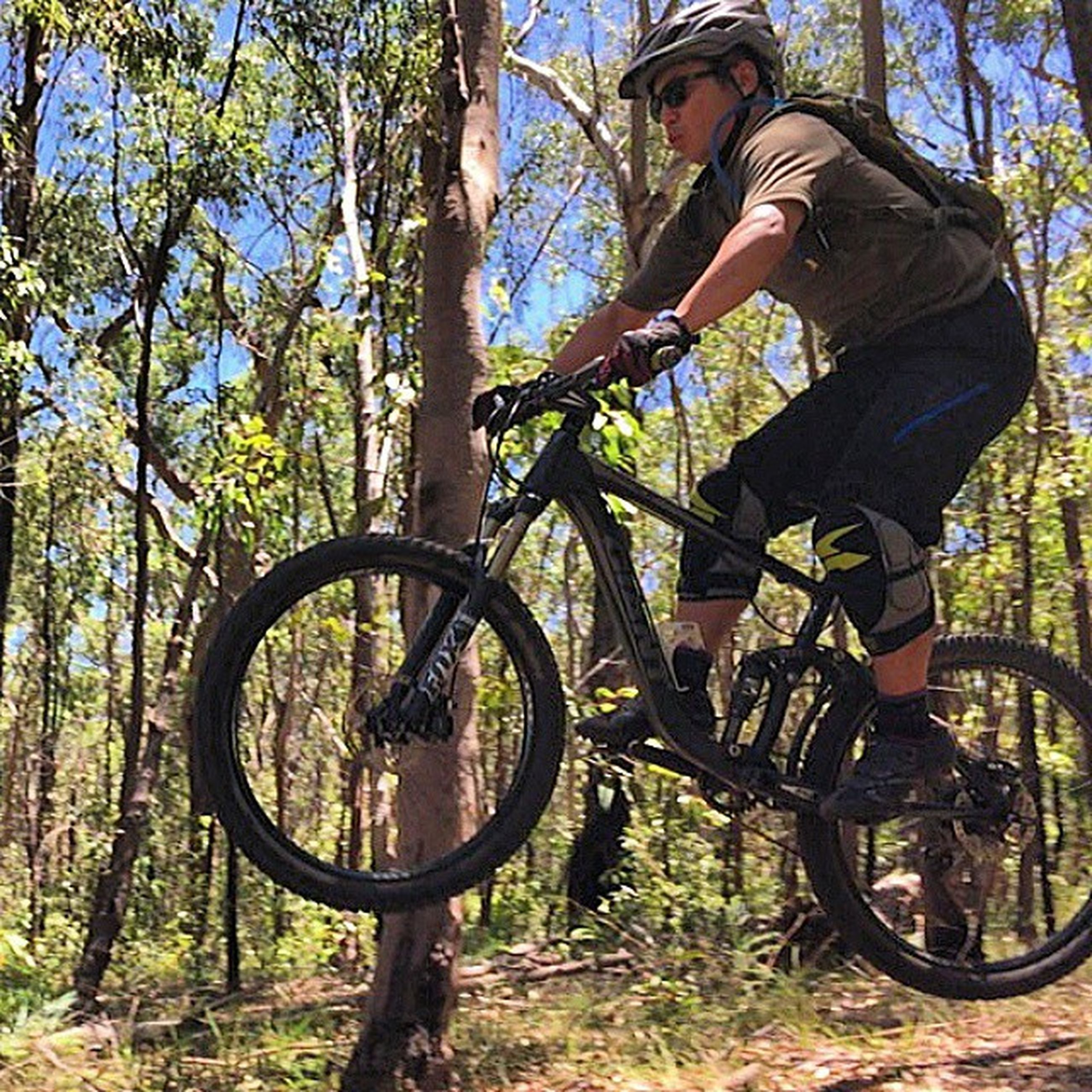 bicycle, land vehicle, transportation, tree, mode of transport, leisure activity, lifestyles, riding, low section, travel, sunlight, men, day, cycling, part of, outdoors, nature